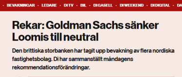 """Goldman Sach sänker Loomis till """"neutral"""" (källa: di.se)"""