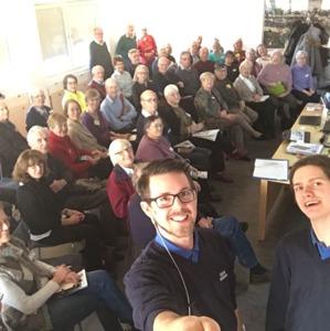 Henrik och Torbjörn från Kjell & Co. tar en selfie vid besöket den 22 feb.