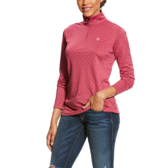 Ariat Sunstopper 1/4 zip - Rose Violet dot, stl XL