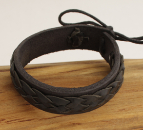 Waki Läderarmband svart - 15 centimeter