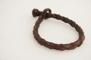 Rundflätat brunt läderarmband - Eget mått av handled i cm