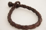 Rundflätat brunt läderarmband - 24 cm