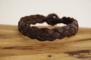 Plattflätat brunt läderarmband