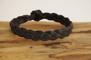 Plattflätat svart läderarmband - 24 cm