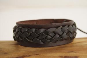 Flätat läderamband brun/brun