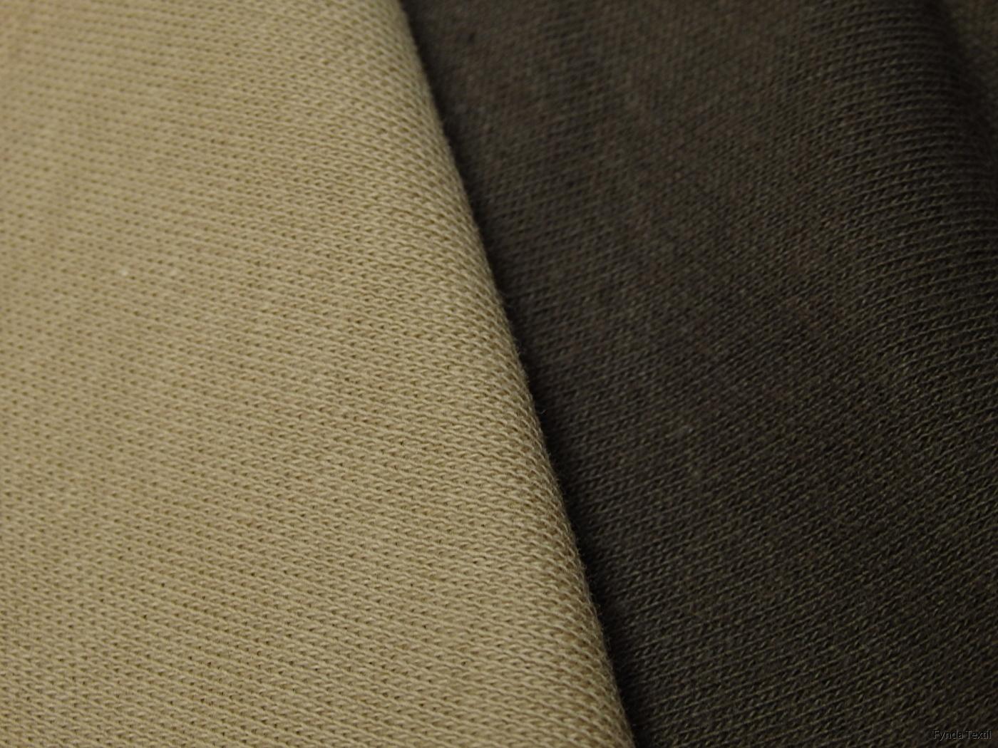 Interlockstickad trikå - sandfärgad och mellanbrun