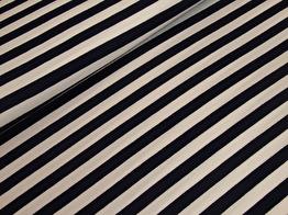 Viscosetrikå - Randig marinblå/vit ökotex
