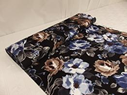Mode - Viscosejersey blommor svart