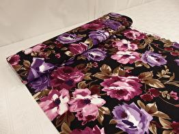 Mode - Viscosejersey blommor lila/rosa