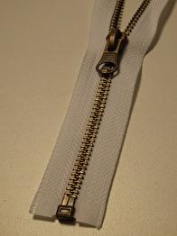 Delbar dragkedja i metall 70 cm 12 färger - Vit
