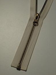 Delbar dragkedja i metall 60 cm 12 färger - Naturvit