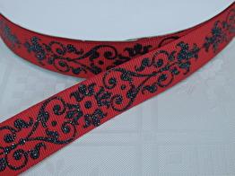 Dekorband 22 mm - Välj färg - Svart/röd