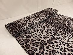 Stickat modetyg viscosejersey - Leopardmönster svart