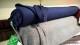 Stickat kofttyg med melering - Ökotex Välj färg - Marinblå melerad
