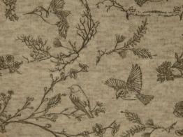 Stretchjogging öglad - Fåglar naturvit ökotex - Naturvit