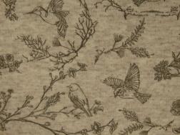 Stretchjogging öglad - Fåglar naturvit ökotex