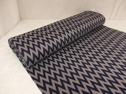 Mode stickad - Marin-grå zigzag Ökotex