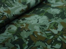 Vävt bomullstyg - Kamoflage grön