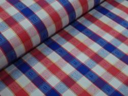 Vävt bomullstyg - Klassisk blå-röd ruta