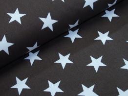 Vävt bomullstyg - Vit stjärna på chokladbrun botten