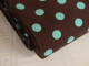 Finspårig babycord manchester Välj färg - Mintgrön prick på chokladbrun botten