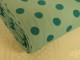 Finspårig babycord manchester Välj färg - Petrolgrön prick på mintgrön botten