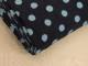 Finspårig babycord manchester Välj färg - Ljusblå prick på marinblå botten