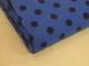 Finspårig babycord manchester Välj färg - Marinblå prick på klarblå botten