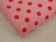 Finspårig babycord manchester Välj färg - Hallonröd prick på ljusrosa botten