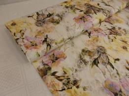 Viskostrikå - Blommor vaniljgul Ökotex