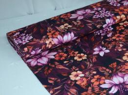 Digitaltryckt bomullstrikå - Blommor rosa-lila Ökotex