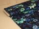 Digitaltryckt bomullstrikå - Blommor mintgrön-blå Ökotex