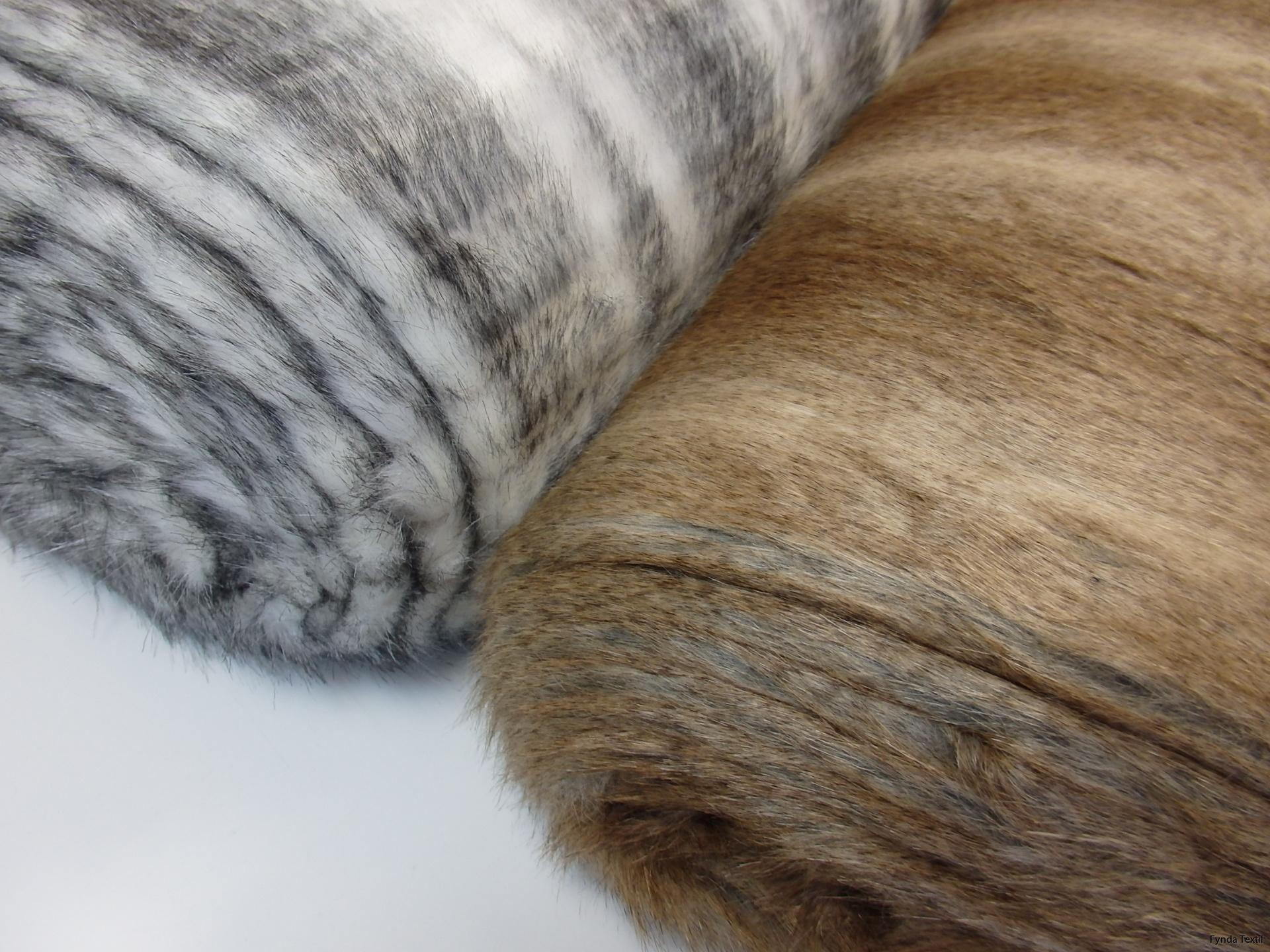 Silvervit och brun lyxpäls