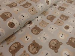 Bomullstrikå - Teddybjörnar ljusgrå Ökotex