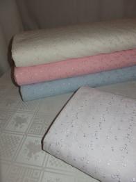Broderat tyg för kläder, inredning mm (4 färger) Ökotex - Vit