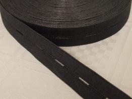 Knapphålsresår med bra stretch 18 mm Välj färg - Svart