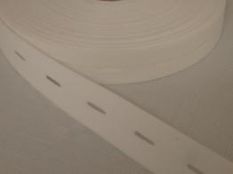 Knapphålsresår med bra stretch 18 mm Välj färg - Vit