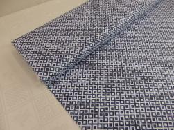 Bomullstrikå - Grafisk fyrkant blå Ökotex