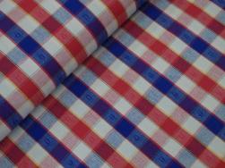Inredning - vävd bomull - blå/röd ruta 2,5x2,5 cm