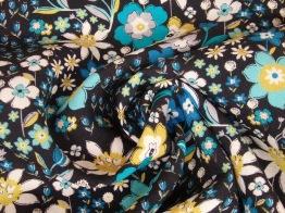 Finvävd viskos blommor Ökotex Välj färg - Petrolgrön stor blomma