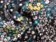 Finvävd viskos blommor Ökotex Välj färg - Petrolgrön/senap liten blomma