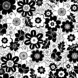 Vävd bomull - Svarta blommor på vit botten Ökotex