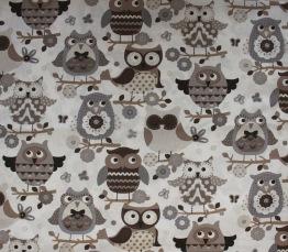 Mönstrad bomull - Välj mönster Ökotex - Ugglor beige