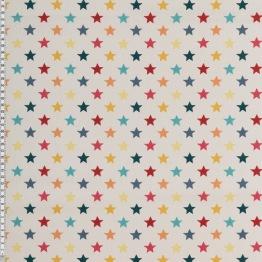 Mönstrad bomull - Välj mönster Ökotex - Stjärnor 2 cm naturvit