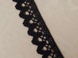 Spetsband (100 % bomull) 25 mm Svart eller vit - Svart