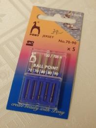 Symaskinsnålar - Ballpoint needle Pony Sort 70-90