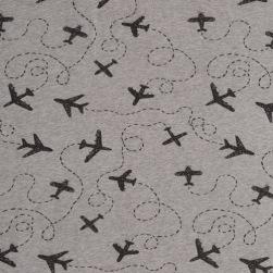 Bomullstrikå - Flygplan gråmelerad Ökotex
