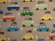Bomullstrikå - Semesterbilar ljusgrå Ökotex
