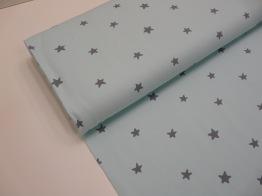 Bomullstrikå - Stjärnor ljus mintgrön Ökotex