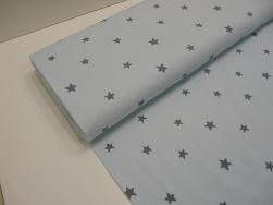 Bomullstrikå - Stjärnor ljus ljusblå Ökotex